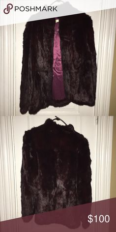 Real Rabbit Fur Coat Deep purple rabbit fur coat. Worn handful of times. Great condition. Jackets & Coats