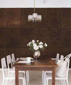 dramatic wall treatment #diningroom #white #brown