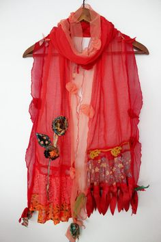 Red scarf Red women's scarf Red cotton shawls by Nazcolleccolors