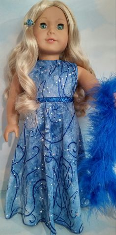 18 inch doll clothes Blue Glitter Gown and Boa by susiestitchit