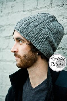 **PATTERN** This listing is for the pattern PDF to knit the Bartek hat. **PATTERN**  The Bartek features multiple cable bands in varied width and one large cable twist that runs vertically up the side. This hat is designed for an advanced knitter who has experience with cables and knitting into the back of stitches. An interesting pattern to knit because it isn't overly repetitive.  1 - 2 skein: Eco Cloud by Cascade Yarns Needles: US #8 (5mm) 16 Circular & 4, US #8 (5mm) DPN Gauge: 20 sts...