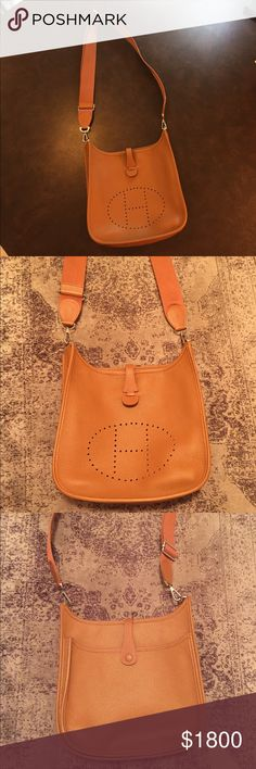 Hermes Evelyn cross-body bag GORGEOUS Crossbody bag! Name is Evelyn. Only selling because I'm saving money to buy a house! Sad to let this one go. No sign of use except for the inside has what I think is a pen mark. Can be seen in the pictures I took of the purse. Hermes Bags Crossbody Bags