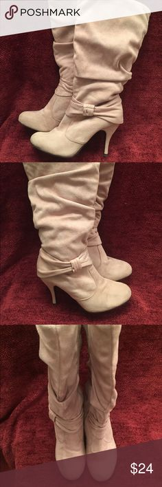 Charlotte Russe Boots Faux Suede Boots.  3.5 inch Heels Charlotte Russe Shoes Heeled Boots