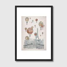 Voyages Over Paris - designer framed art print
