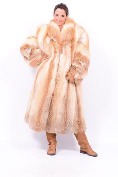 Golden Island Red Fox Fur Coat Pelzmantel No Silver Blue Mink Abrigo de Piel | eBay