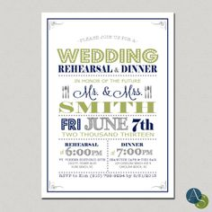 Wedding Rehearsal & Dinner Invitation  5x7 by AlexisScottInteriors, $17.50