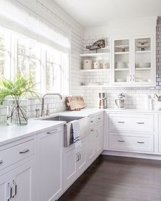 Modern Kitchen Design – Want to refurbish or redo your kitchen? As part of a modern kitchen renovation or remodeling, know that there are a . Kitchen Ikea, Farmhouse Kitchen Cabinets, Farmhouse Style Kitchen, Modern Farmhouse Kitchens, New Kitchen, Home Kitchens, White Farmhouse, Kitchen Shelves, Open Shelves