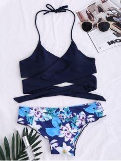 String Floral Panel Bikini Set - PURPLISH BLUE M