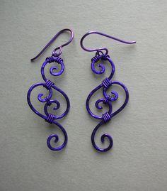 Purple Swirl Wire Filigree Earrings. $38.00, via Etsy.