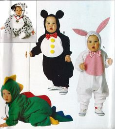 Infant costume Sewing Pattern Dog, Dragon, Mouse Bunny Butterick 3050 Sizes 13 to 29 lbs.. $7.00, via Etsy.