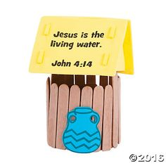 "TUESDAY: WOMAN AT WELL (Jesus knows everything about me) - Toilet Paper Rolls - Pop Sticks - Jug Cut Out (blue) - Yellow Card Stock - Sticky Label w/ theme - Sticky Label w/ ""John 4:1-42"""