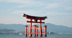 photos of tori gate in Miyajima