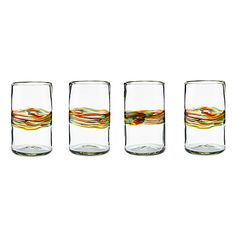 Rainbow Band Recycled Glasses -Set of 4 $40.00 ~~ Why not drink in a bit of that happiness every day, with these color-rich glasses on your kitchen table or at the bar.~~ uncommongoods ~~ I ABSOLUTELY LOVE THESE GLASSES!!!!