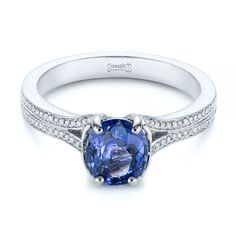 This stunning engagement ring features an oval blue sapphire center set in a stylized split shank setting with bright cut set diamonds down the sides. Designed and created by Joseph Jewelry Split Shank Engagement Rings, Oval Engagement, Platinum Engagement Rings, Blue Sapphire, Sapphire Diamond, Unique Rings, Diamond Rings, Crowns, Joseph