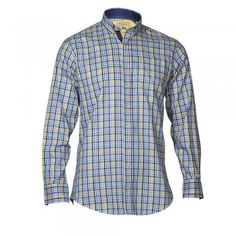 This regular fitting blue and yellow check shirt is the perfect addition to your Spring wardrobe. Team with navy chinos or jeans. Features include - button-down collar, contrast fabric on the inside collar and a chest pocket.