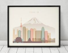 Tokyo print, Poster, Wall art, Tokyo skyline, Japan cityscape, City poster, Typography art, Home Decor, Digital Print, ArtPrintsVicky.