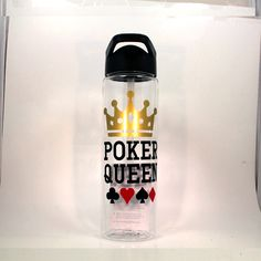 Poker King Water Bottle, Poker Queen Water Bottle, Poker Player Gift, Poker Gift, Poker Water Bottle, Poker Player Water Bottle, by BlueKitty2000 on Etsy