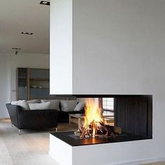 Three Sided Fireplace Design Idea