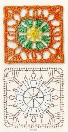 Transcendent Crochet a Solid Granny Square Ideas. Inconceivable Crochet a Solid Granny Square Ideas. Motifs Granny Square, Crochet Motifs, Crochet Blocks, Granny Square Crochet Pattern, Crochet Diagram, Crochet Squares, Crochet Chart, Crochet Granny, Crochet Stitches