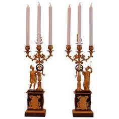 Pair of French Ormolu and Bronze and Gilt Bronze Four-Light Candelabras