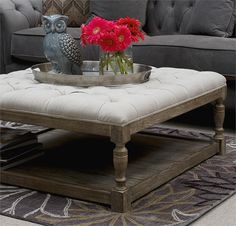 """$500, 39"""" square, 16.5"""" high.  Bristol Tufted Large Cocktail Ottoman"""