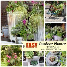Outside planters ideas 1 easy creative outdoor. Outside Planters, Outdoor Planters, Garden Planters, Outdoor Gardens, Concrete Planters, Lawn And Garden, Garden Art, Garden Design, Indoor Garden