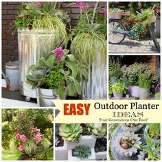 Easy and creative outdoor planters @Mandy Bryant Dewey Generations One Roof