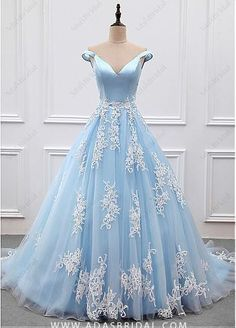 Outlet Excellent Prom Dresses 2018 2018 Sky Blue Appliques Charming Ball Gown Off-the-Shoulder V-Neck Prom Dresses Uk Princess Prom Dresses, V Neck Prom Dresses, Blue Evening Dresses, Ball Gowns Prom, A Line Prom Dresses, Tulle Prom Dress, Formal Dresses For Women, Pageant Dresses, Quinceanera Dresses