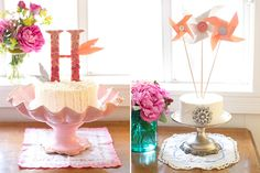 diy: cake toppers {pinwheels and monograms} Make a quilled C for Cora's room?