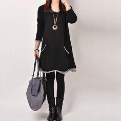 Black Oversized Sweater Dress 100 Cotton Knit Sweater by LYDRESS