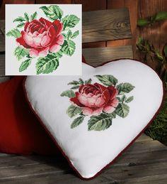 Free pattern: Heart Pillow from CoatsCrafts se Cross Stitching, Cross Stitch Embroidery, Cross Stitch Patterns, Cross Stitch Heart, Cross Stitch Flowers, Fabric Hearts, Red Cottage, Heart Pillow, Love Symbols