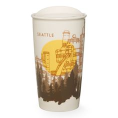 A double-walled, ceramic travel mug celebrating Seattle with amazing views of Gas Works Park, part of the Starbucks Dot Local Collection.