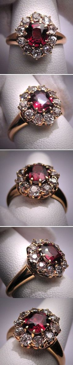 Antique Garnet Diamond Wedding Ring Vintage Victorian