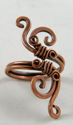 Forged and Wire Wrapped Copper Ring  Adjustable by TheLastLink, $20.00