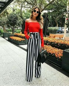 >>>Cheap Sale OFF! >>>Visit>> Stripped pants add height top cuts her off. Each piece is great. Outfits In Rot, Mode Outfits, Spring Outfits, Fashion Outfits, Fasion, Holiday Outfits, Classy Outfits, Stylish Outfits, Preppy Outfits