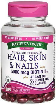 Natures Truth Superior Strength HairSkinNails with ArganCoconut OilCollagen 165 Count -- Find out more about the great product at the affiliate link Amazon.com on image.