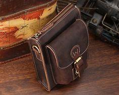 Men's Crazy Horse Leather Shoulder Small Waist Bag Hiking Belt Pack Cross Body