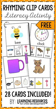 Rhyming Clip Cards – CVC Words and More Rhyming Clip Cards FREE activity for teaching rhyming and early literacy in preschool, pre-k, kindergarten, and rti. Free printable by Learning Resources for Child Development Phonological Awareness Activities, Rhyming Activities, Language Activities, Kindergarten Centers, Kindergarten Reading, Rhyming Kindergarten, Kindergarten Freebies, Rhyming Words, Early Literacy
