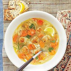 Lemon, Orzo, and Meatball Soup is our hearty twist on chicken noodle soup, featuring small grains of orzo pasta and savory chicken meatballs.