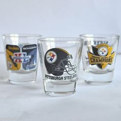 x3 Pittsburgh Steelers Shot Glasses '06 Superbowl XL Champs NFL vs. Seahawks x3