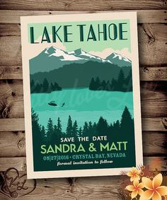 PRINTABLE Save The Date Lake Tahoe Wedding Announcement Mountain Destination Retro invite invitation vintage travel poster Digital PDF. The Knot Wedding Checklist Pdf Cheap Wedding Invitations, Destination Wedding Invitations, Vintage Wedding Invitations, Wedding Planner, Wedding Postcard, Destination Weddings, Wedding Favors, Lake Tahoe Weddings, Wedding Planning Checklist
