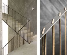 A steel railing laced with thin leather strips in the Casa do Conto hotel, Portugal. Designed by Pedra Líquida. Photos by FG + SG