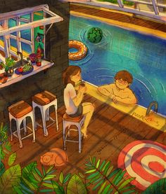 """♥  SUMMER VACATION  ~  """"Come on in, let's play in the pool together."""" / """"I'm scared.  I don't swim very well.""""  /  """"Aw, I'll hold onto you!""""  ♥  by Puuung at www.grafolio.com/works/188200  ♥"""