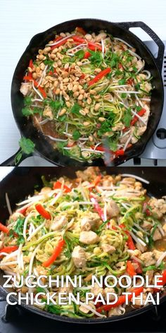 Love pad thai? This healthy pad thai recipe uses zucchini noodles! OMG, it's so good and the best KETO friendly pad thai recipe. Healthy Pad Thai, Healthy Thai Recipes, Healthy Protein Snacks, Healthy Zucchini, Spicy Recipes, Asian Recipes, Keto Recipes, Healthy Eating, Cooking Recipes