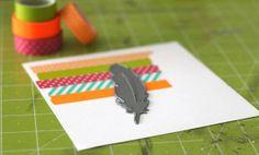 Réaliser une plume colorée avec du masking tape et le die Metaliks plume #Kesiart. Explications de Mélanie de l'équipe créative.