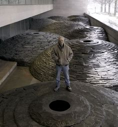 Artist Andy Goldsworthy.  British sculptor, photographer and environmentalist producing site-specific sculpture and land art situated in natural and urban settings.