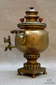 "Tea Dispenser :: Known as ""samovar"" (Russian) or ""semaver"" (Turkish), tea dispensers like this antique one were traditionally heated with charcoal or coal and fulfilled an important function during extended tea drinking sessions."