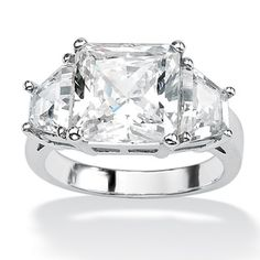 Ultimate CZ Platinum over Sterling Silver Cubic Zirconia Ring | Overstock™ Shopping - Big Discounts on Palm Beach Jewelry Cubic Zirconia Rings