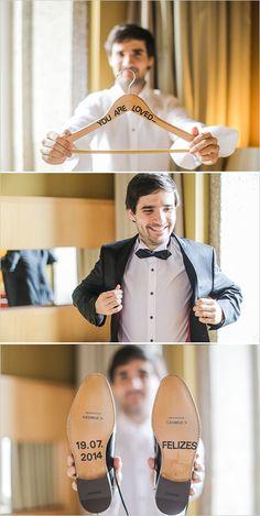 Ways to make your groom special! Custom hanger and custom shoes. @weddingchicks
