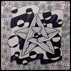 "Zentangle® : Weekly Challenge #174 : Superimposing Strings : ""Stars & Stripes"" by ha! designs"